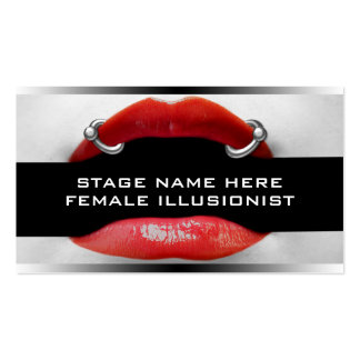 Drag Queen Pierced Red Lips Business Cards