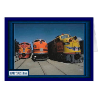 Drag race for trains greeting cards