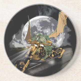 Drag-racing Dragon and Moon Fantasy Artwork Coaster
