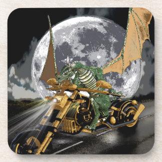 Drag-racing Dragon and Moon Fantasy Artwork Drink Coaster