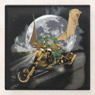 Drag-racing Dragon and Moon Fantasy Artwork Glass Coaster