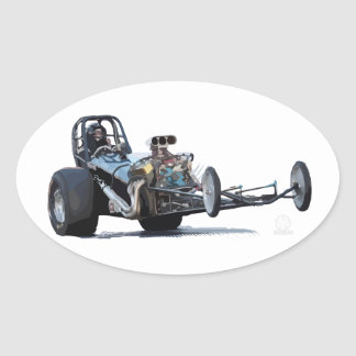 Drag Racing & Vintage Dragsters Oval Sticker