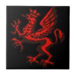 Dragão vermelho azulejos de cerâmica