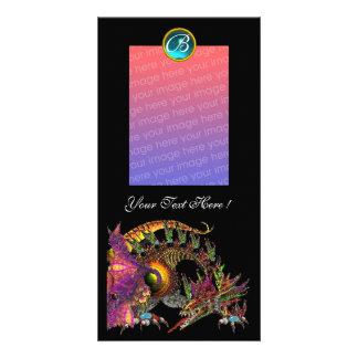 DRAGO , Blue Turquase Aquamarine Monogram Card