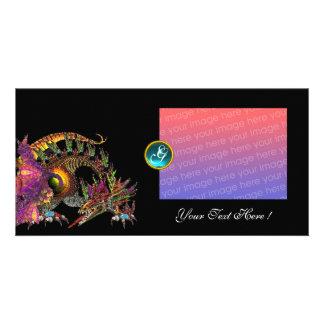 DRAGO ,Blue Turquase Aquamarine Monogram Card