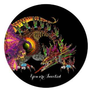 DRAGO / FANTASY DRAGON IN GOLD PINK PURPLE BLACK 5.25X5.25 SQUARE PAPER INVITATION CARD