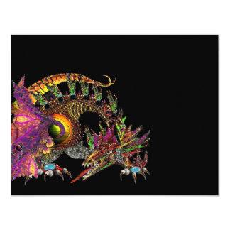 DRAGO / FANTASY DRAGON IN GOLD PINK PURPLE BLACK 4.25X5.5 PAPER INVITATION CARD