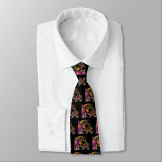 DRAGO / FANTASY DRAGON IN GOLD PURPLE AND BLACK NECK TIE