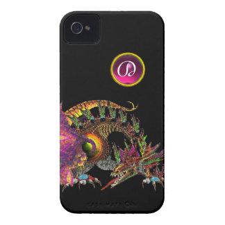 DRAGO,FANTASY DRAGON,PINK PURPLE GEMSTONE MONOGRAM iPhone 4 COVER