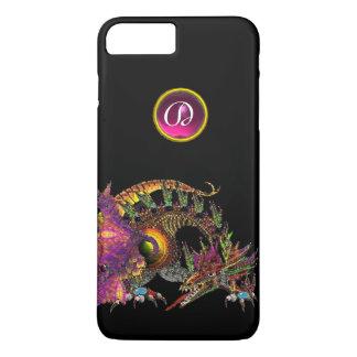 DRAGO,FANTASY DRAGON,PINK PURPLE GEMSTONE MONOGRAM iPhone 7 PLUS CASE