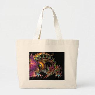 DRAGO / FANTASY GOLD DRAGON IN PURPLE AND BLACK LARGE TOTE BAG
