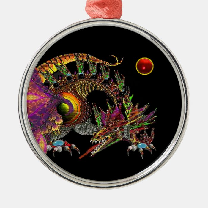 DRAGO / FANTASY GOLD DRAGON IN PURPLE AND BLACK METAL ORNAMENT