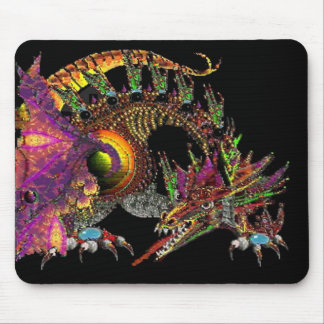 DRAGO / FANTASY GOLD DRAGON IN PURPLE AND BLACK MOUSE PAD