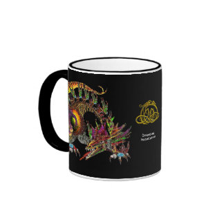 DRAGO / FANTASY GOLD DRAGON IN PURPLE AND BLACK RINGER MUG