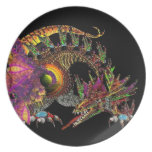 DRAGO / FANTASY GOLD DRAGON IN PURPLE AND BLACK DINNER PLATES