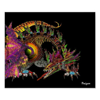 DRAGO / FANTASY GOLD DRAGON IN PURPLE AND BLACK POSTER