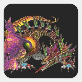 DRAGO / FANTASY GOLD DRAGON IN PURPLE AND BLACK SQUARE STICKER