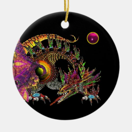 DRAGO Fantasy Gold Dragon, Pink Amethyst Monogram Ceramic Ornament