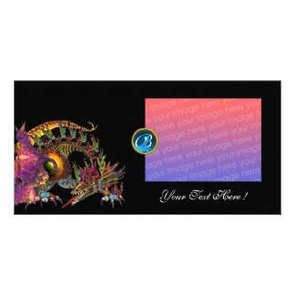 DRAGO ,Fuchsia Blue Sapphire Monogram Card