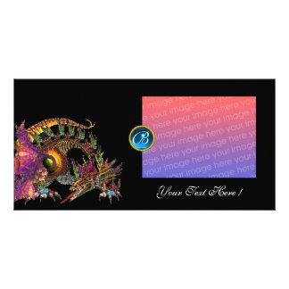 DRAGO ,Fuchsia Blue Sapphire Monogram Photo Card