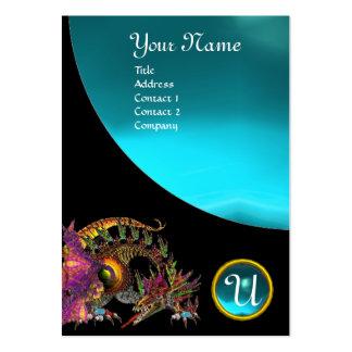 DRAGO GEM STONE MONOGRAM black blue aquamarine Large Business Card