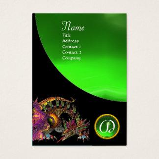 DRAGO GEM STONE MONOGRAM black green emerald Business Card