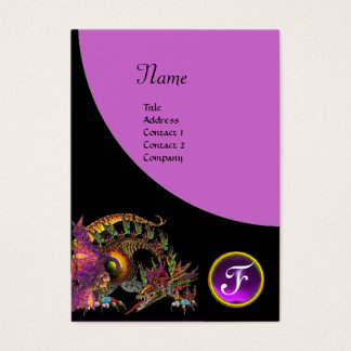 DRAGO GEM STONE MONOGRAM  black purple violet Business Card