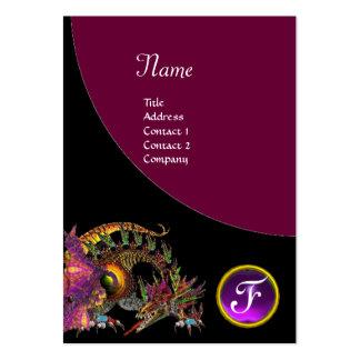 DRAGO GEM STONE MONOGRAM  black purple violet Large Business Card