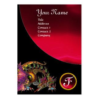DRAGO GEM STONE MONOGRAM black red burgundy Large Business Card