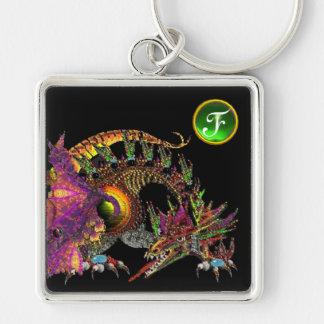 DRAGO , Green Emerald Gem Monogram Silver-Colored Square Keychain