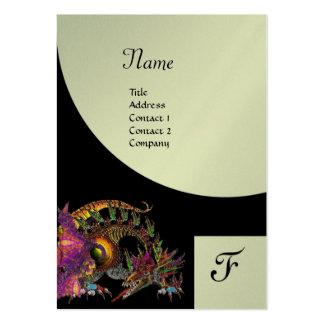 DRAGO, Monogram black purple platinum metallic Large Business Card