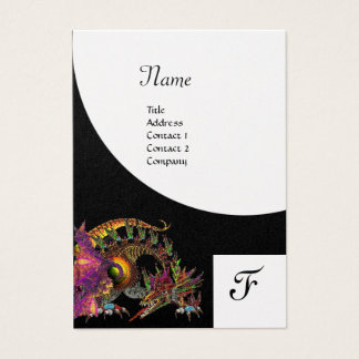 DRAGO, Monogram black purple white pearl paper Business Card