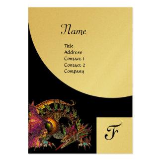 DRAGO, oro púrpura negro del monograma metálico Tarjetas De Visita Grandes