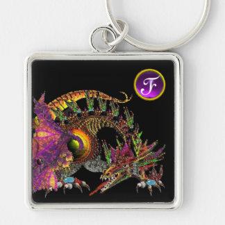 DRAGO , Purple Amethyst Gem Monogram Silver-Colored Square Keychain