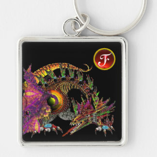 DRAGO , Red Ruby Gem Monogram Silver-Colored Square Keychain