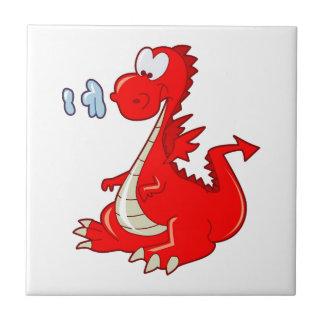 dragon302  RED CARTOON DRAGON CUTE HAPPY KIDS GRAP Ceramic Tile