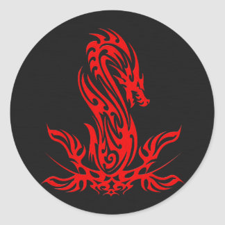 Dragon 19 red oil classic round sticker