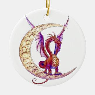 Dragón 1 de Wiccan Adorno Navideño Redondo De Cerámica