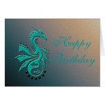 Dragon 1 Yin Yang cyan/aqua Greeting Card