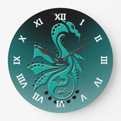 Dragon 1 Yin Yang cyan/aqua Round Wallclocks