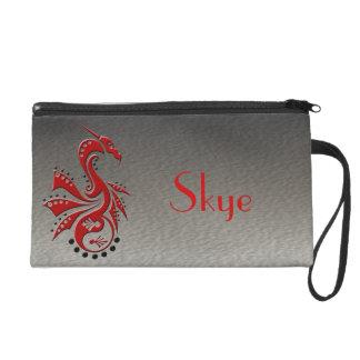Dragon 1 Yin Yang red Wristlet Purse
