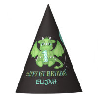 Dragon 1st Birthday Paper Party Hats Personalized