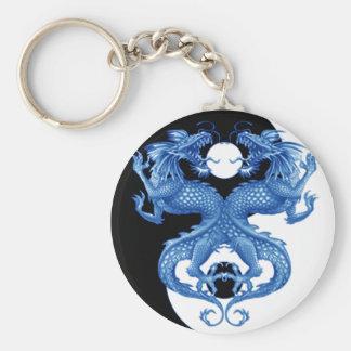 Dragón 2 de Yin Yang Llavero Redondo Tipo Pin