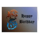 Dragon 2 Yin Yang blue bronze Cards