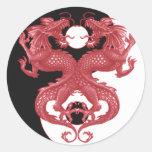 Dragón 3 de Yin Yang Pegatina Redonda