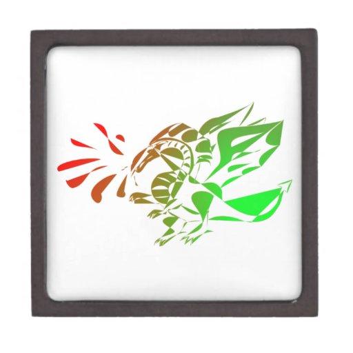 Dragón abstracto rojo y verde caja de recuerdo de calidad