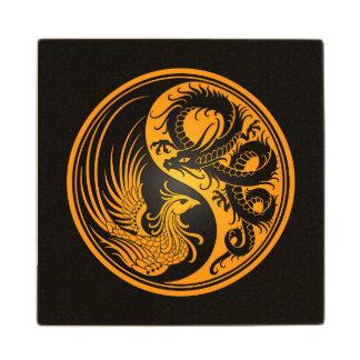 Dragón amarillo y negro Phoenix Yin Yang