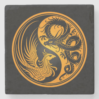 Dragón amarillo y negro Phoenix Yin Yang Posavasos De Piedra