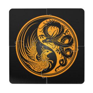 Dragón amarillo y negro Phoenix Yin Yang Posavasos De Puzzle