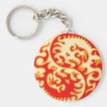 Dragón anaranjado de Yin Yang Llaveros